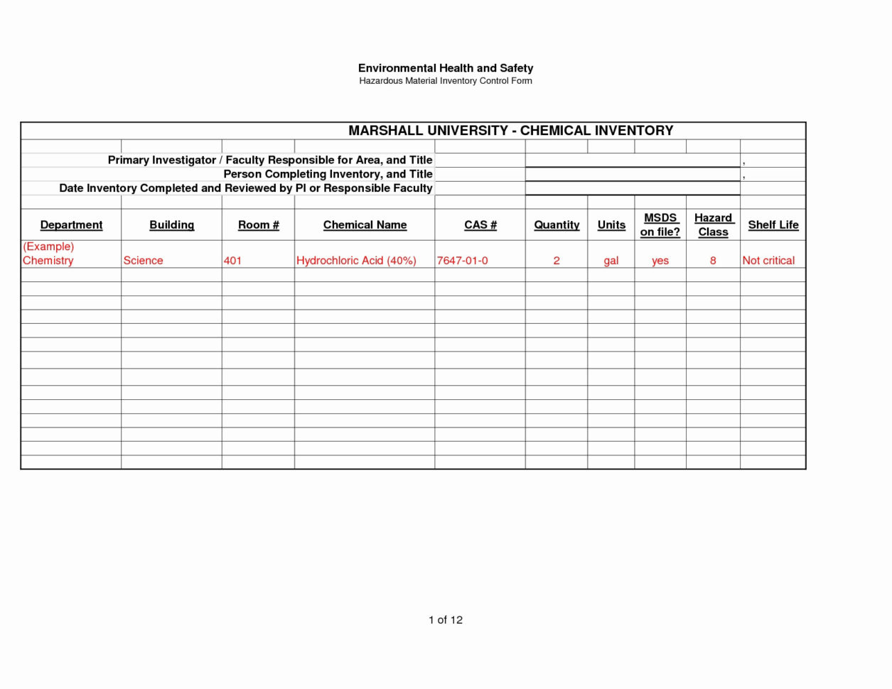 Hazardous Material Inventory Spreadsheet Spreadshee
