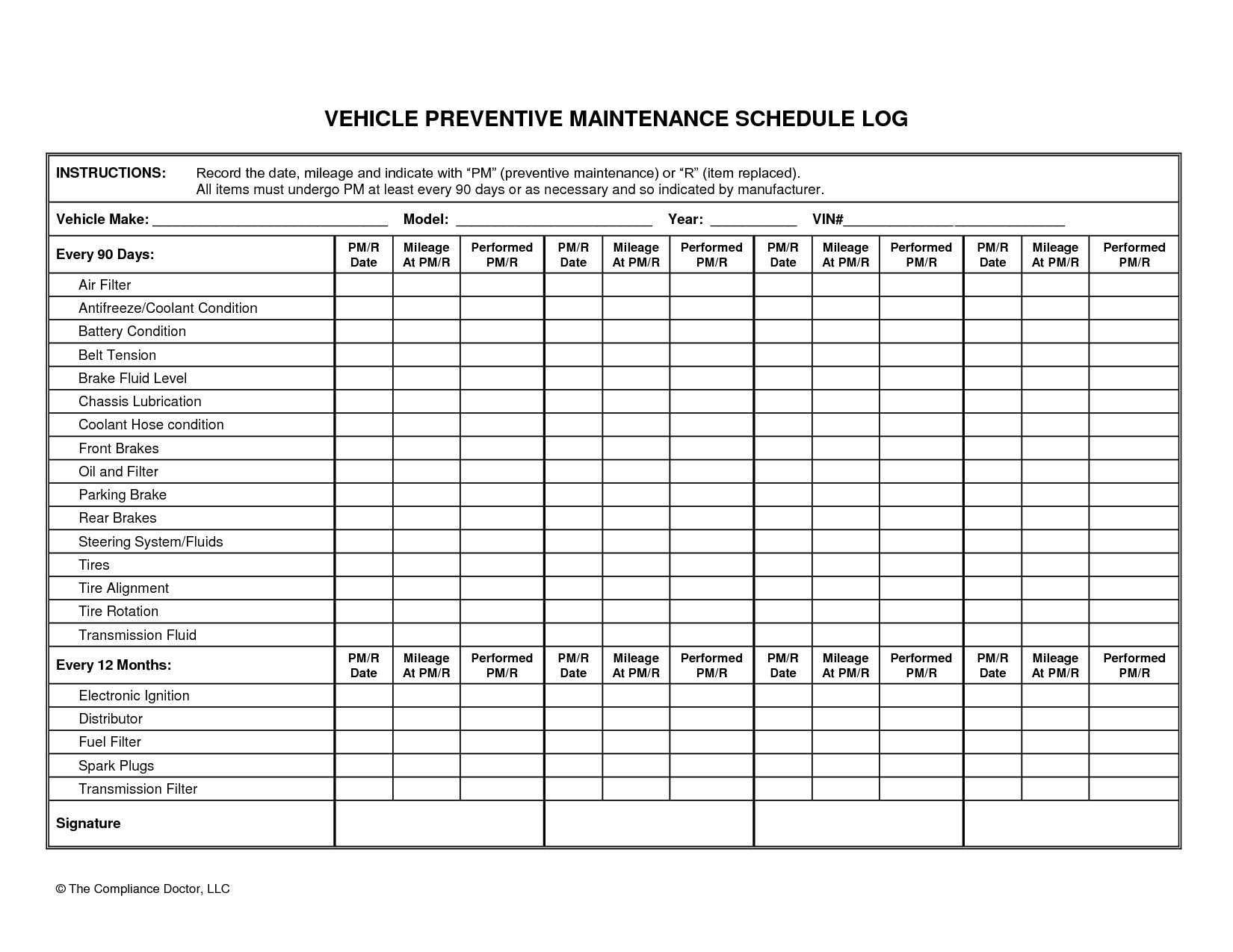 Heavy Equipment Maintenance Spreadsheet Spreadsheet