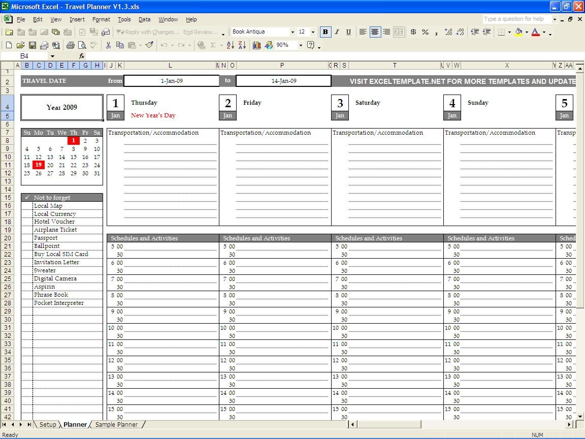 Holiday Planning Spreadsheet Spreadshee Holiday