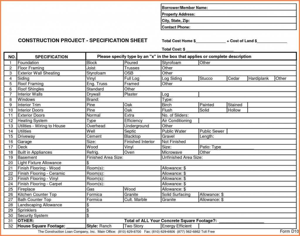Home Building Budget Spreadsheet Spreadshee Home Construction Budget Spreadsheet Xls