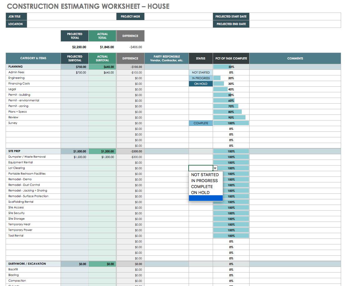 Home Building Cost Breakdown Spreadsheet Spreadshee