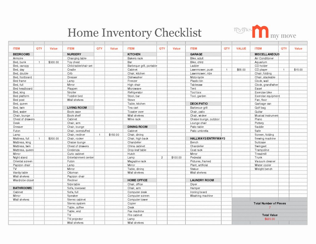 Home Inventory Spreadsheet Within Home Inventory