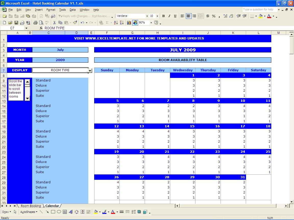 Hotel Spreadsheet Excel Regarding Booking Calendar Excel