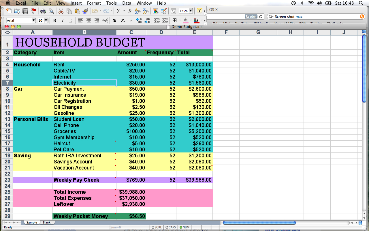 How To Make An Excel Spreadsheet For Bills Within Home