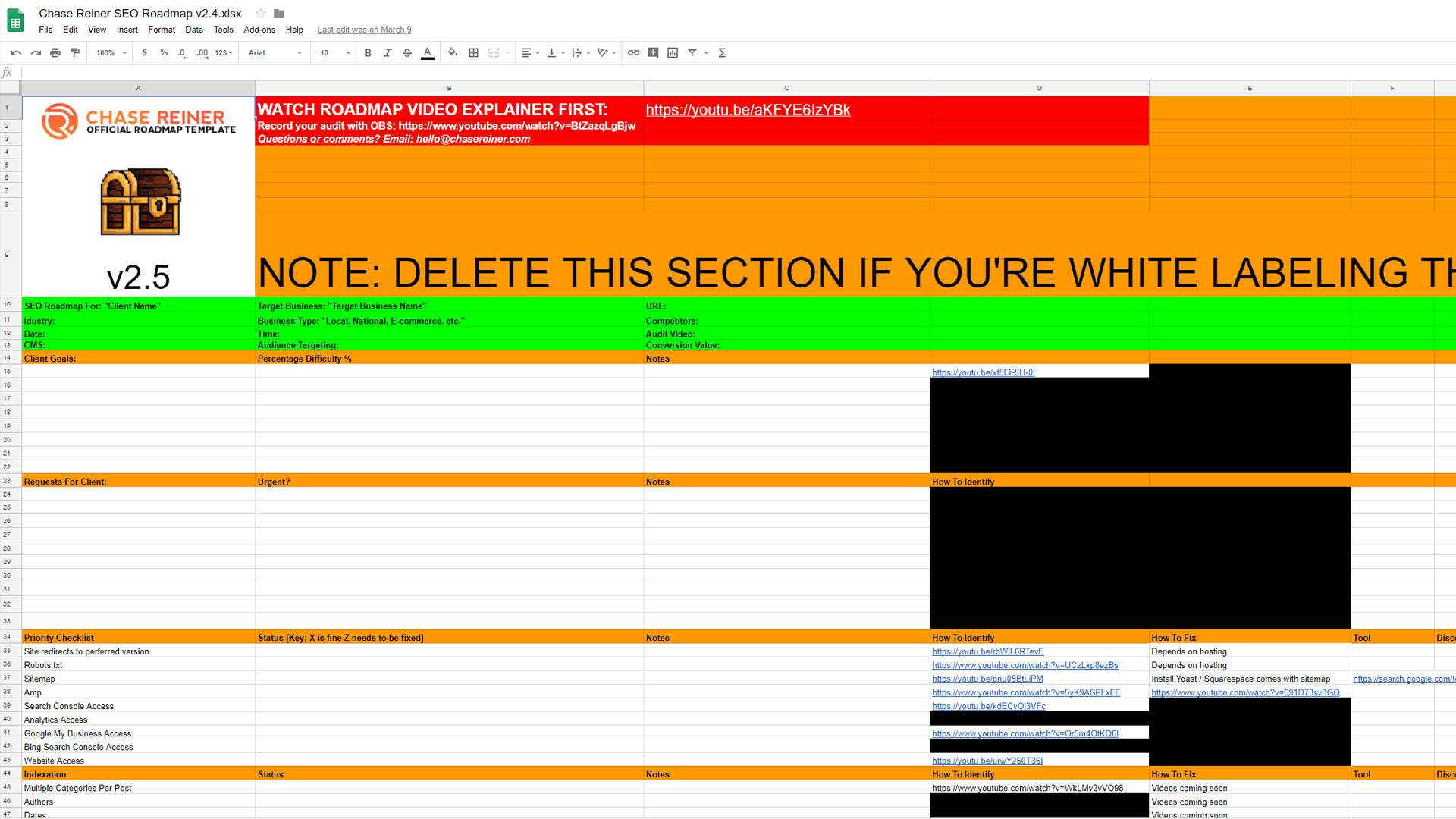 I 9 Audit Spreadsheet Pertaining To Seo Audit Checklist
