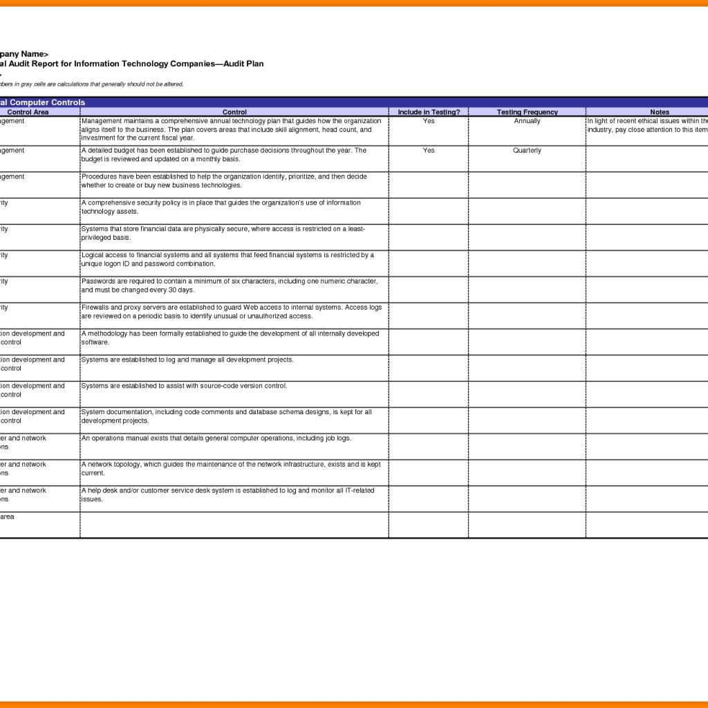 Internal Audit Tracking Spreadsheet Regarding Format Of