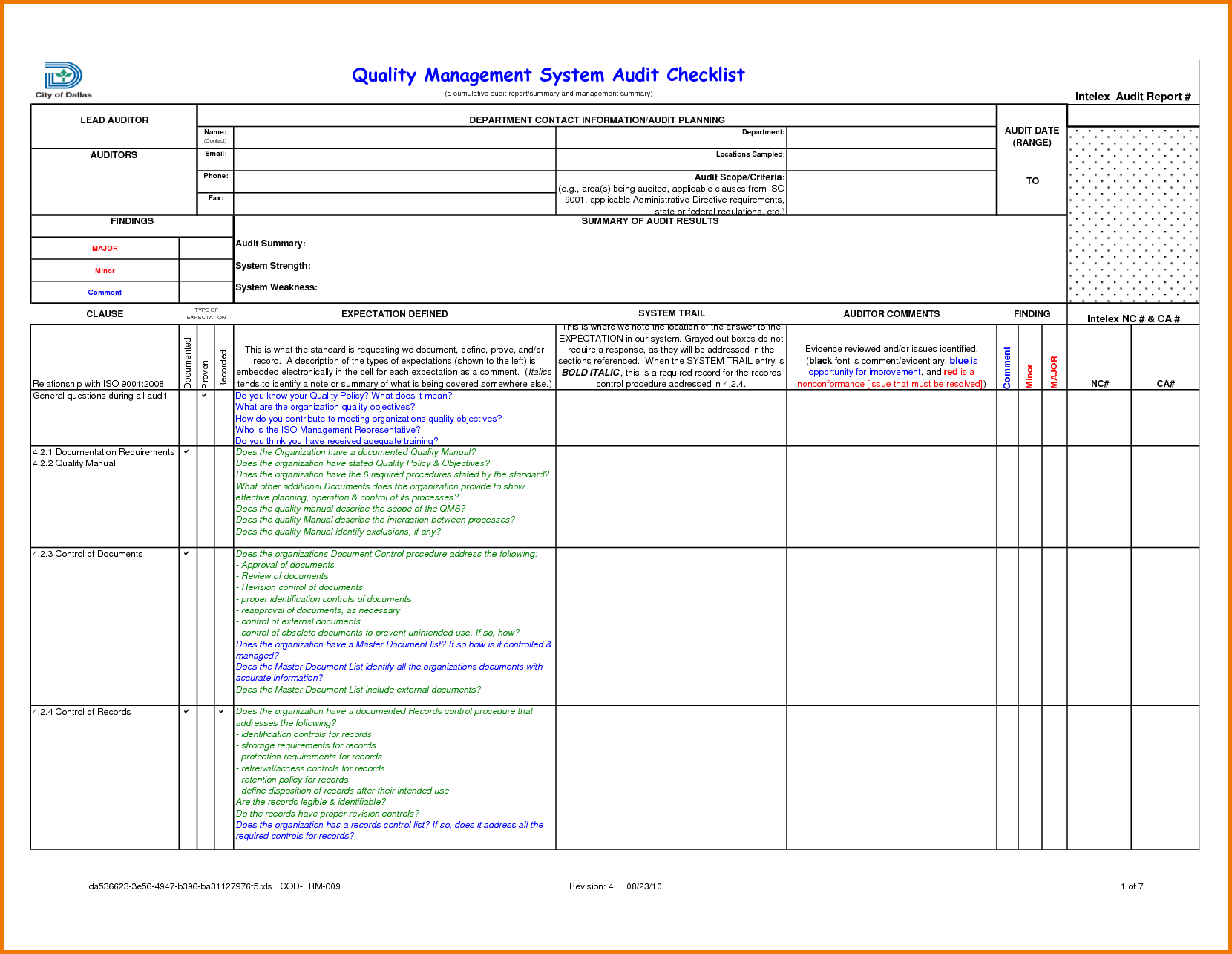 Internal Audit Tracking Spreadsheet Within Format Of Audit