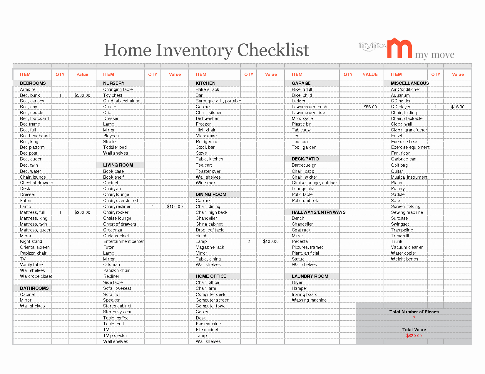 Inventory Spreadsheet Pertaining To Household