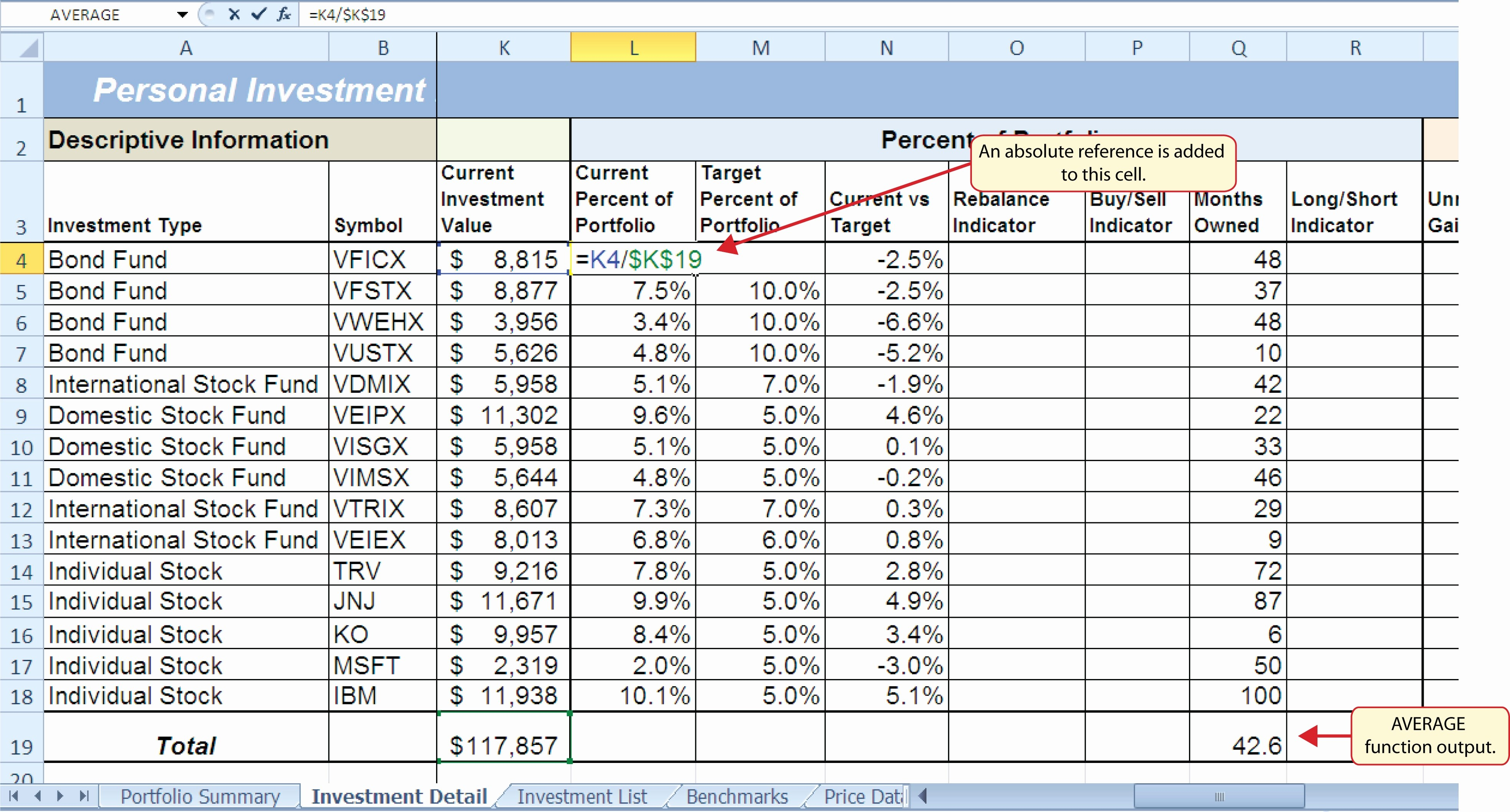 Investment Portfolio Spreadsheet Within Sample Portfolio