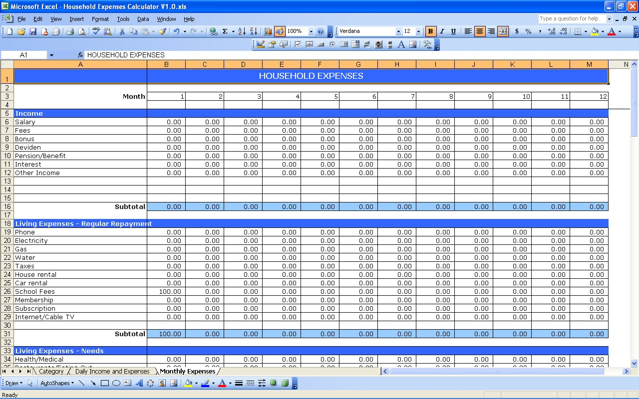 Living Expenses Spreadsheet Spreadsheet Downloa Living