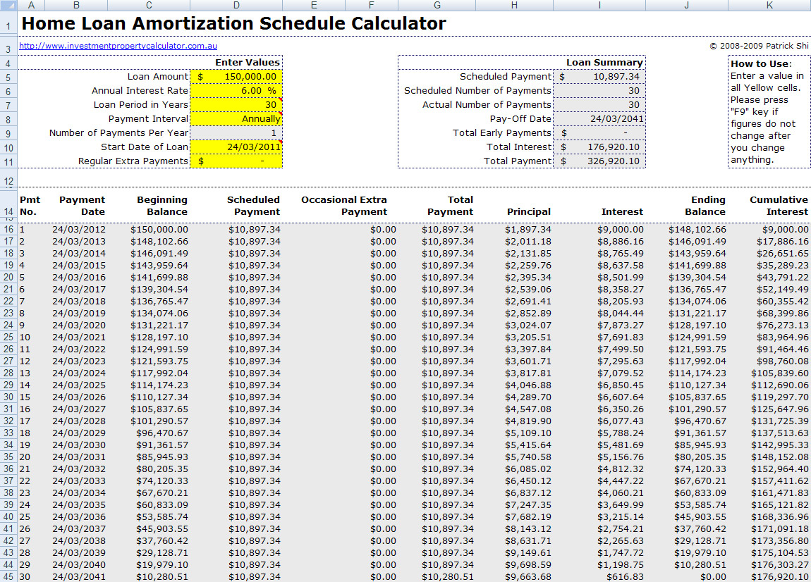 Loan Amortization Spreadsheet Excel Throughout Free