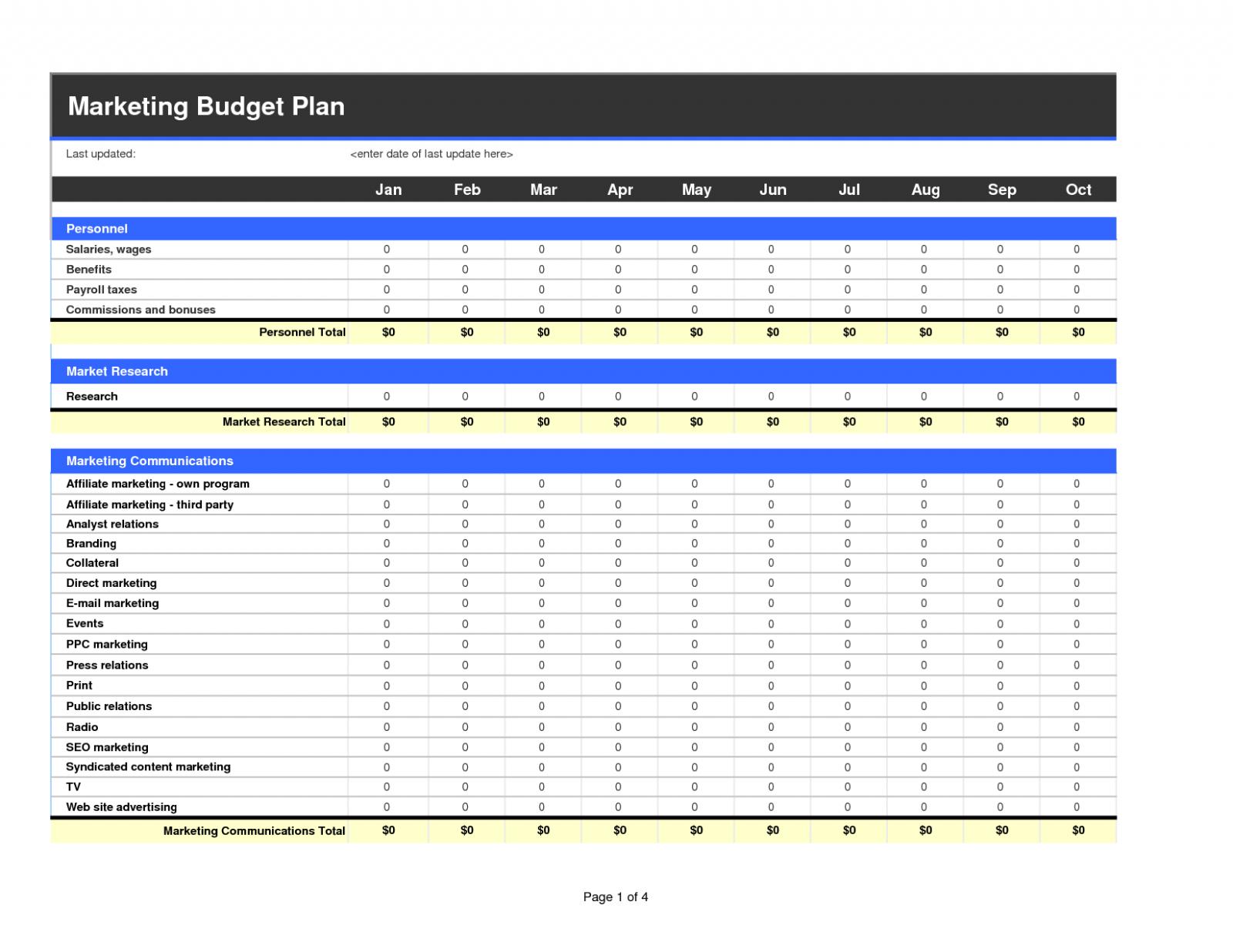 Marketing Budget Spreadsheet Template Spreadsheet Downloa