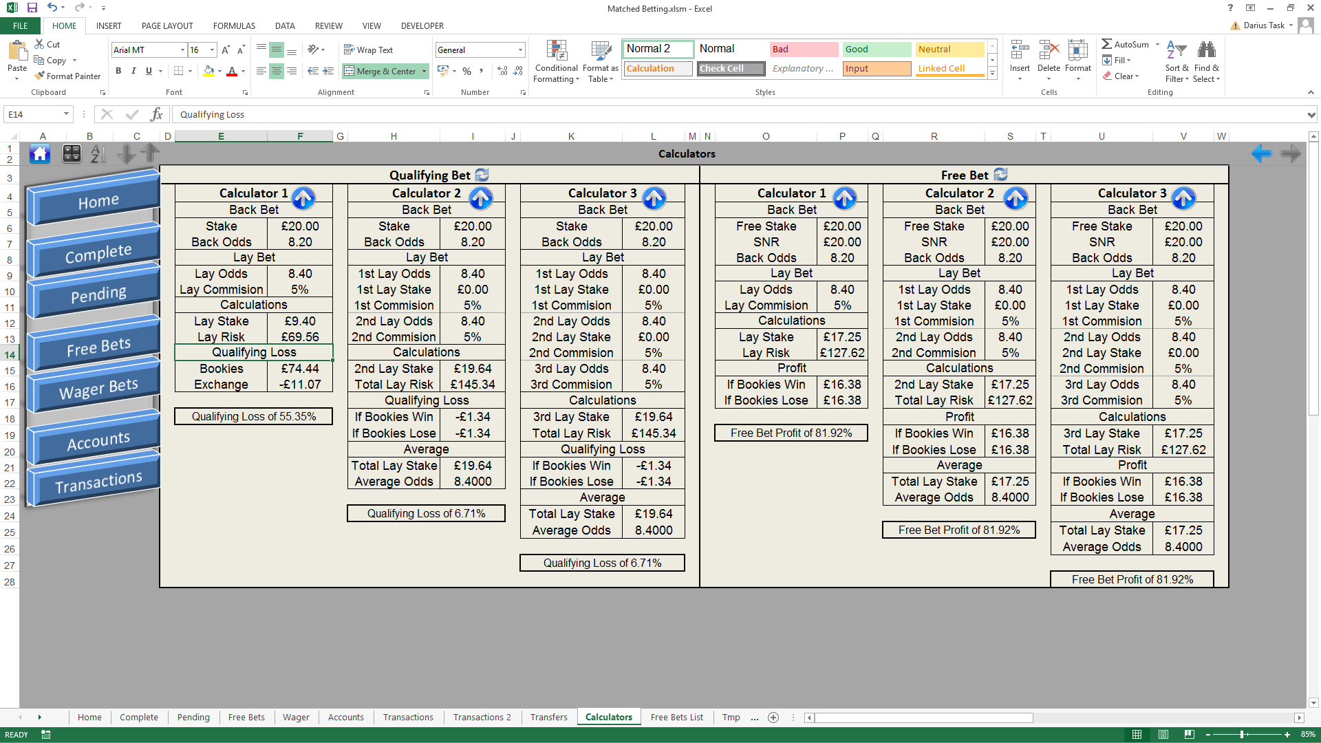 Matched Betting Excel Spreadsheet For Darius Task Matched