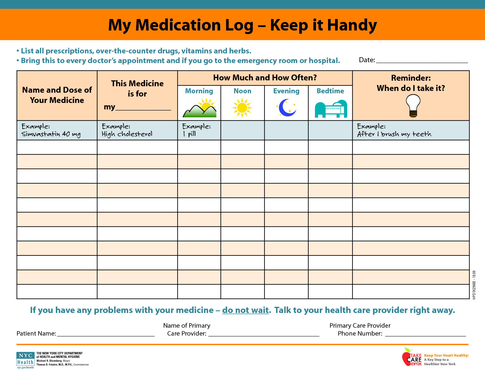 Medicine Spreadsheet Pertaining To Daily Medicationdule