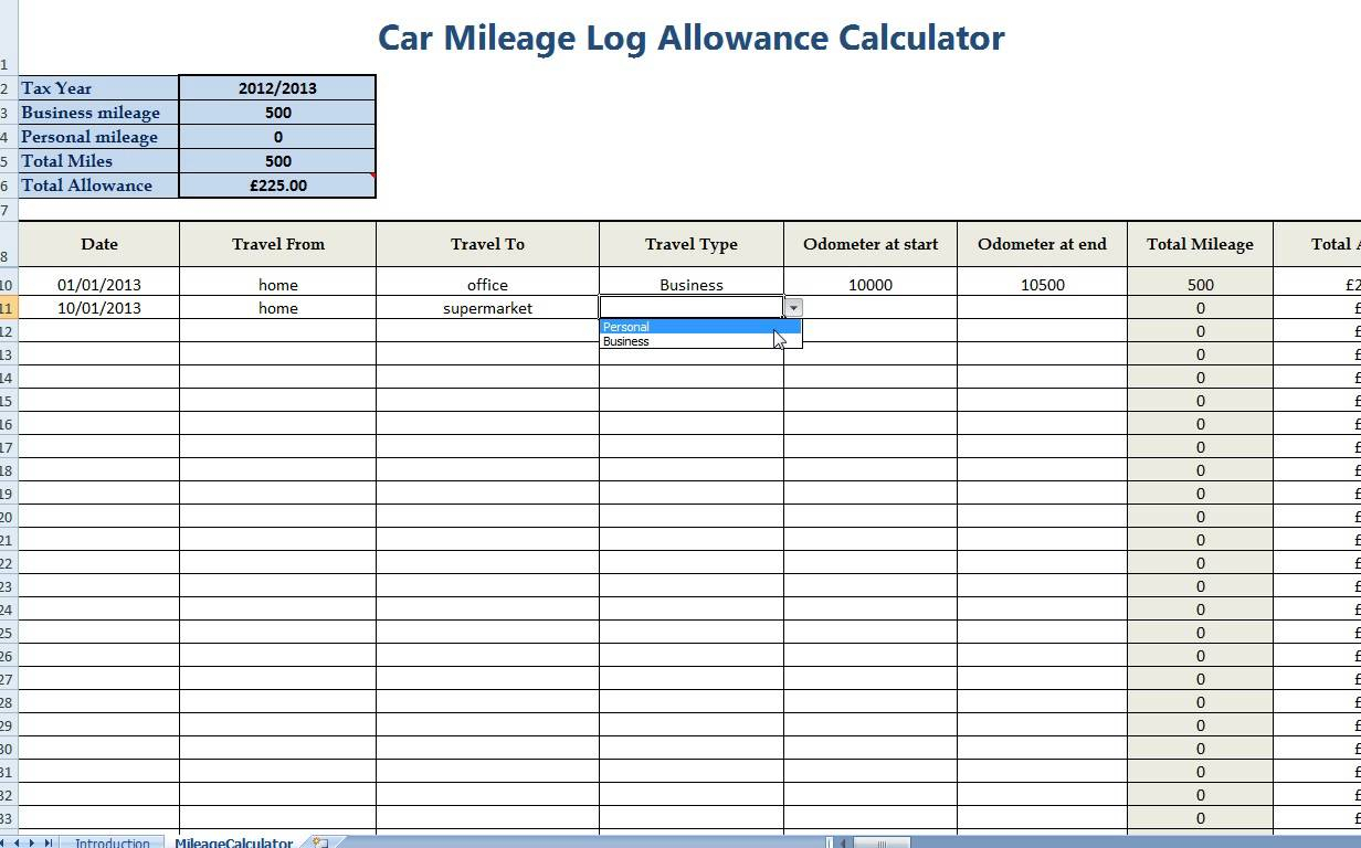 Sample Example Amp Format Templates Business Mileage Log