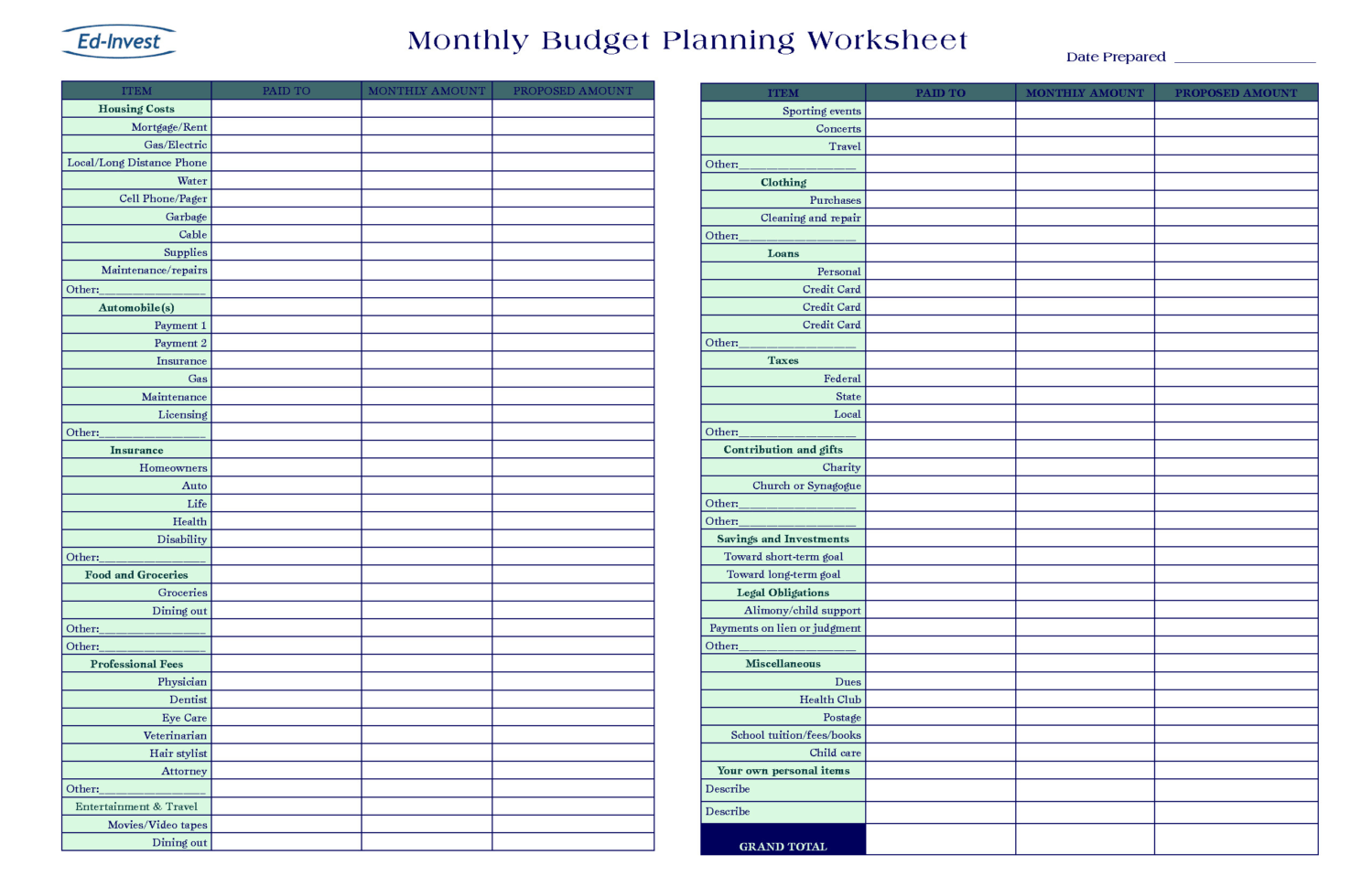 Monthly Budget Spreadsheet Docs Intended For