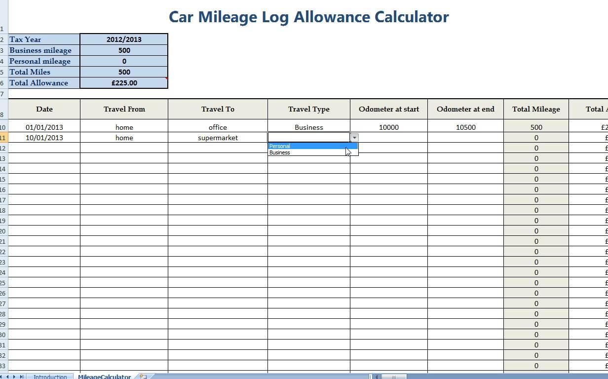 Online Mileage Log Spreadsheet Spreadshee Online
