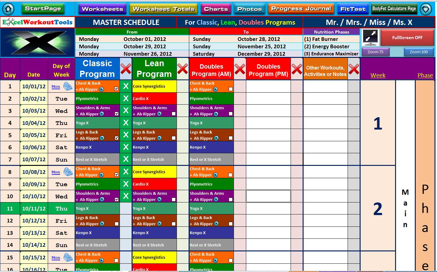 P90x Excel Spreadsheet Spreadshee P90x Excel
