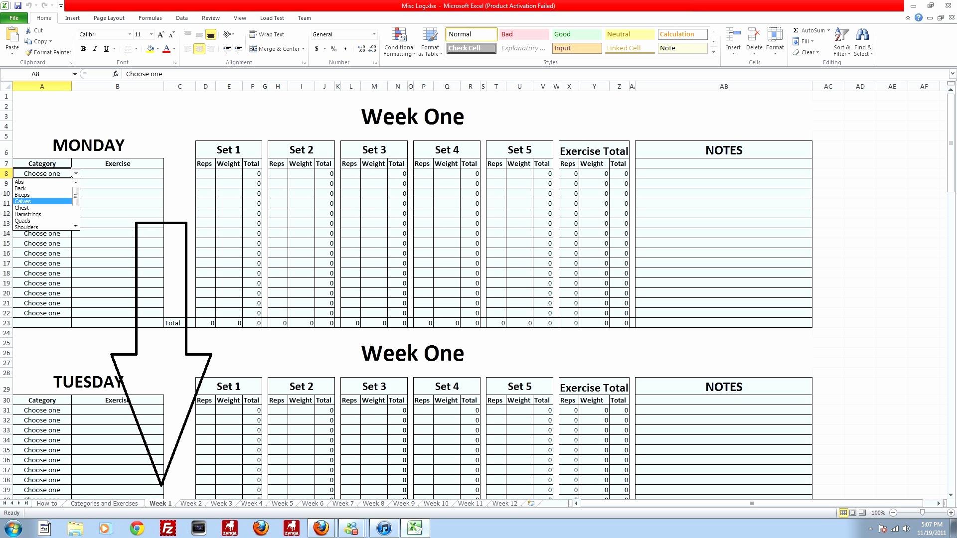 P90x Spreadsheet Docs Spreadshee P90x