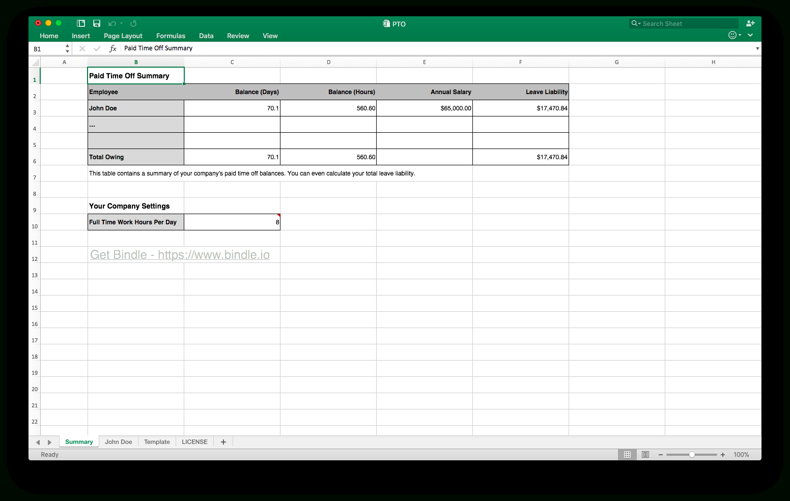 Paid Time Off Tracking Excel Spreadsheet With Regard To