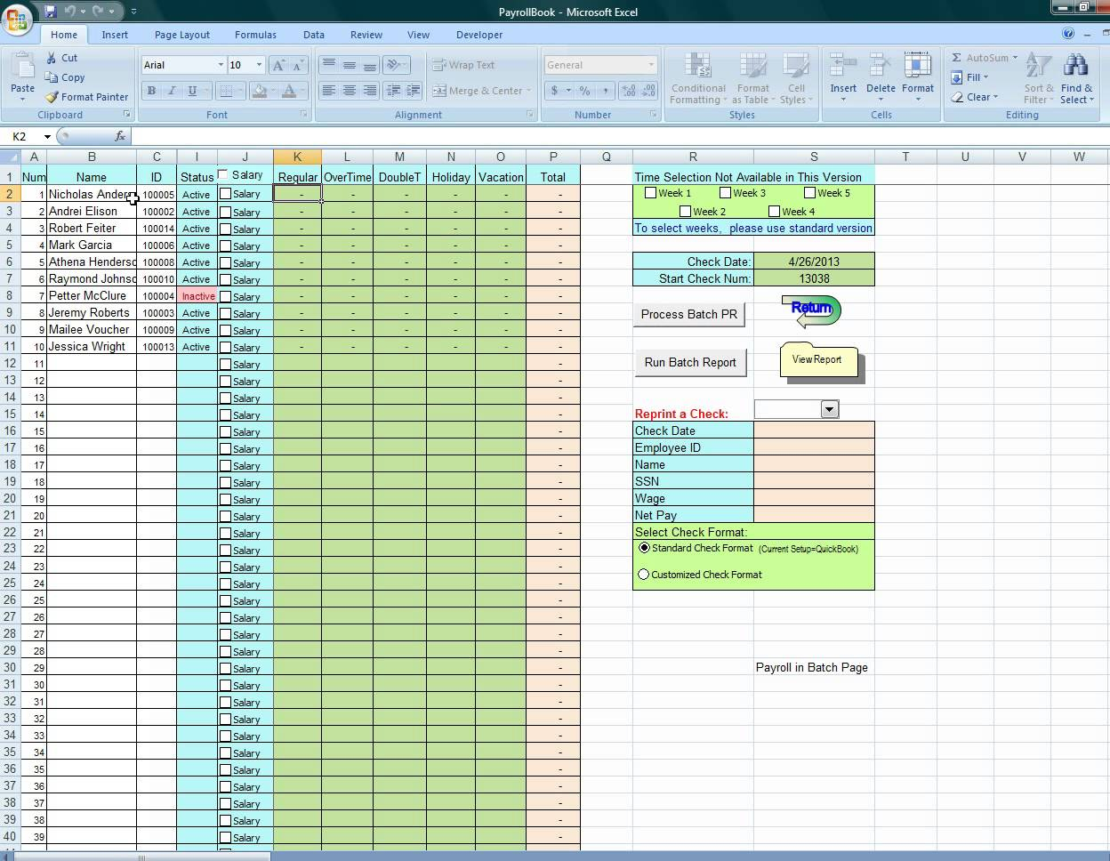 Payroll Excel Spreadsheet Free Download With Microsoft