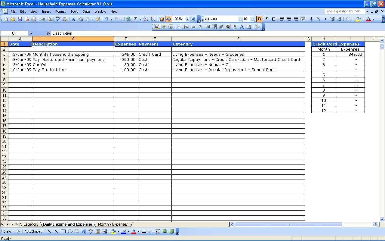 Personal Income And Expenses Spreadsheet For Expense