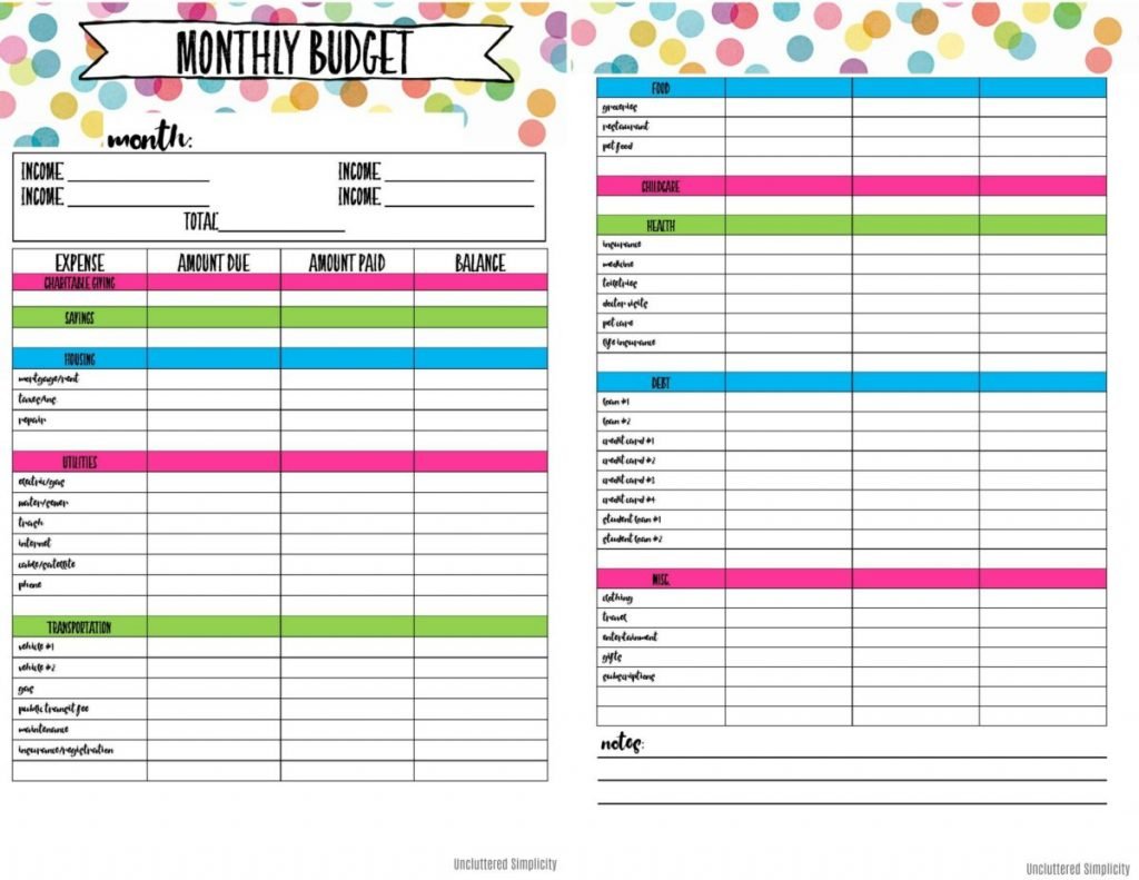 Printable Budget Spreadsheet Spreadshee Printable