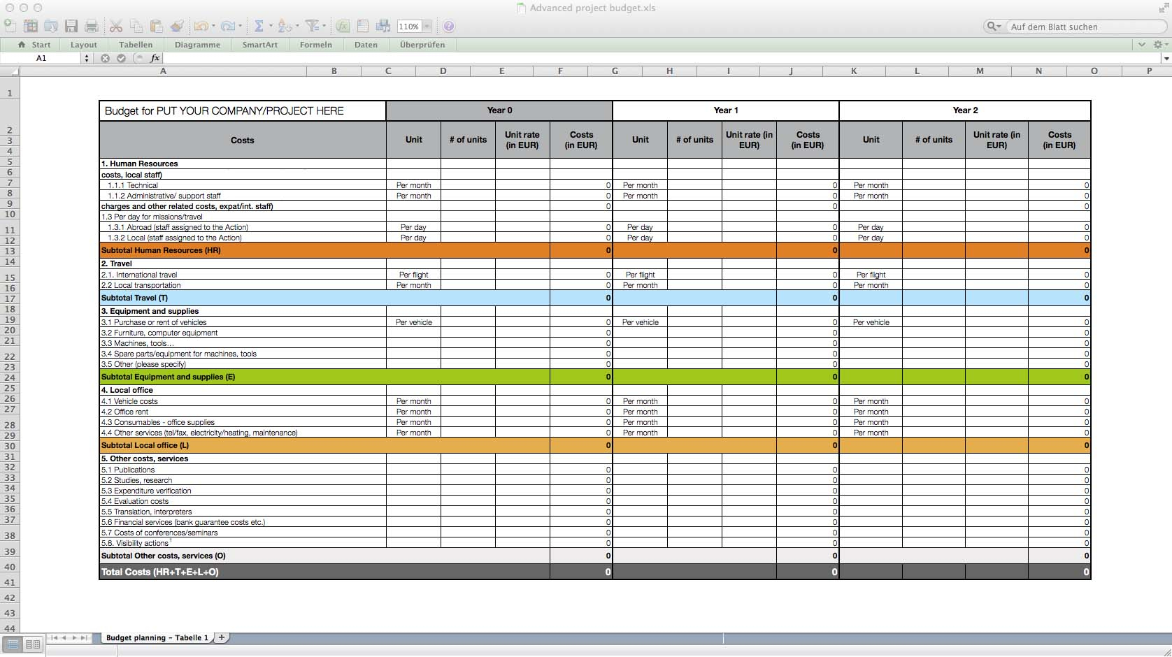 Professional Excel Spreadsheets