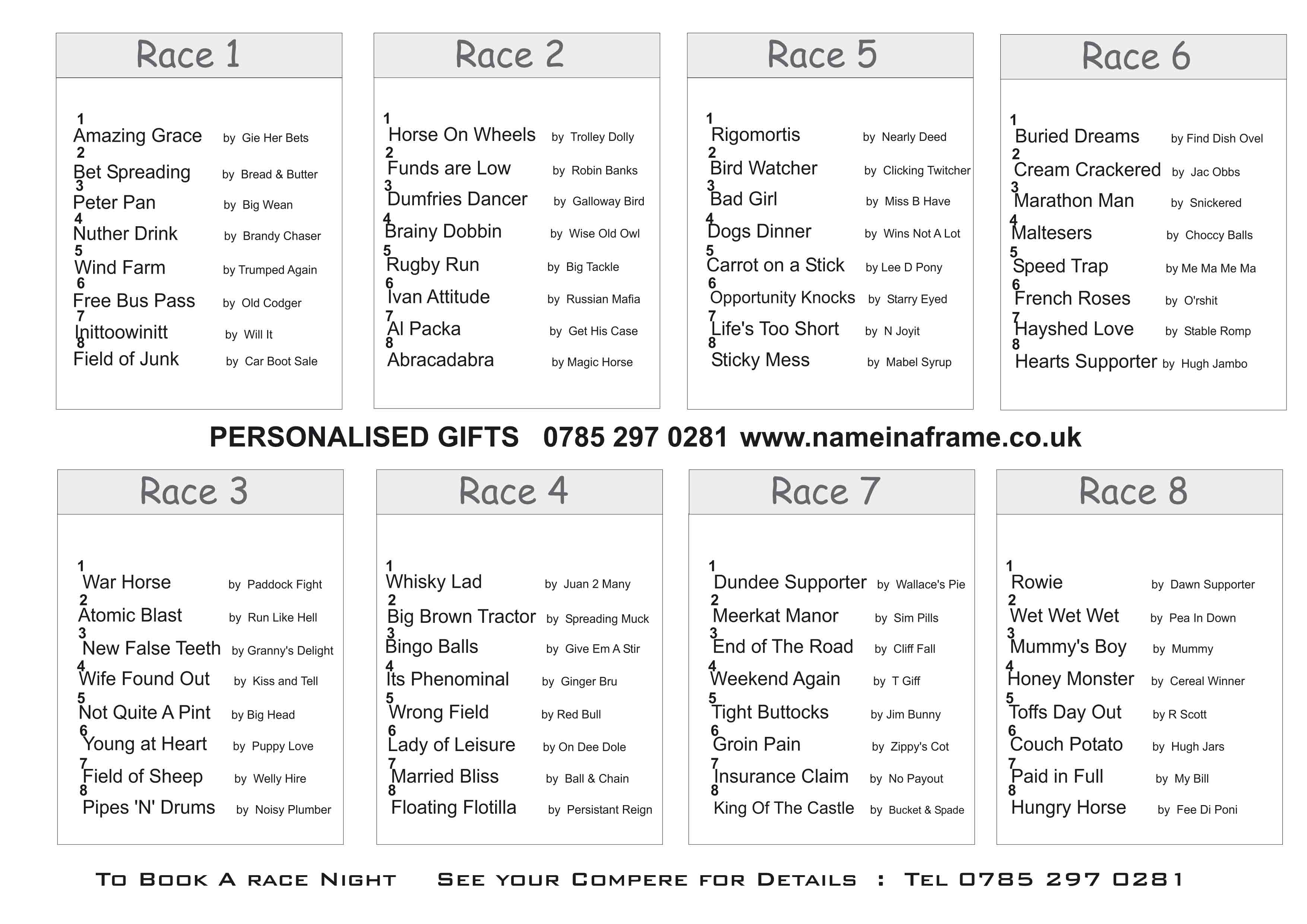 Race Night Spreadsheet Intended For Race Nights Scotland