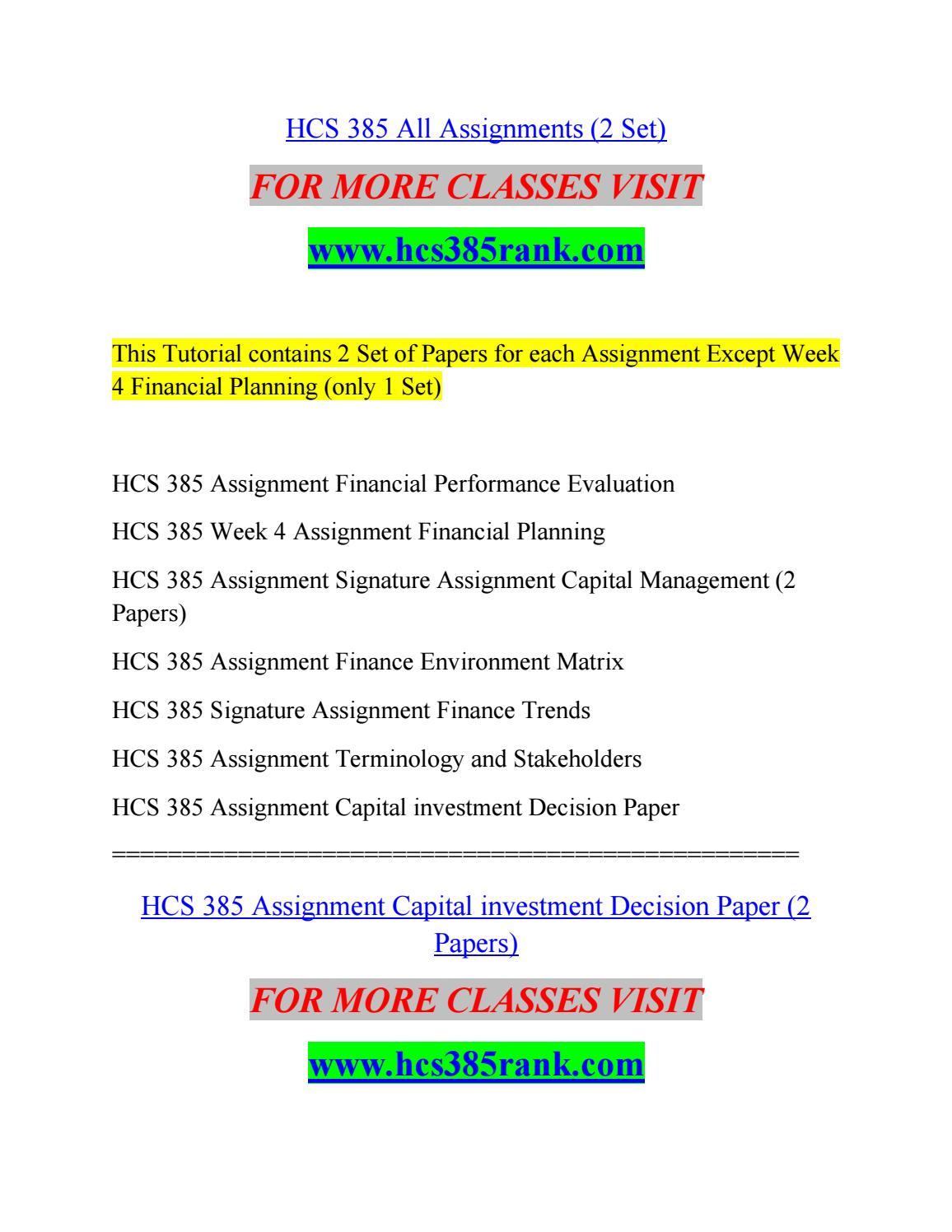 Ratioysis Spreadsheet Hcs 385 Pertaining To Hcs 385