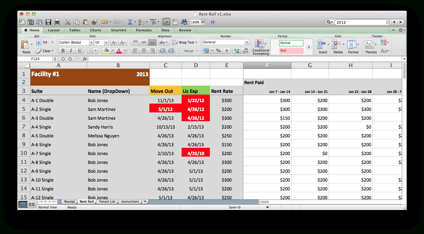 Rent Roll Excel Spreadsheet Printable Spreadshee Rent Roll Excel Spreadsheet Rent Roll Excel