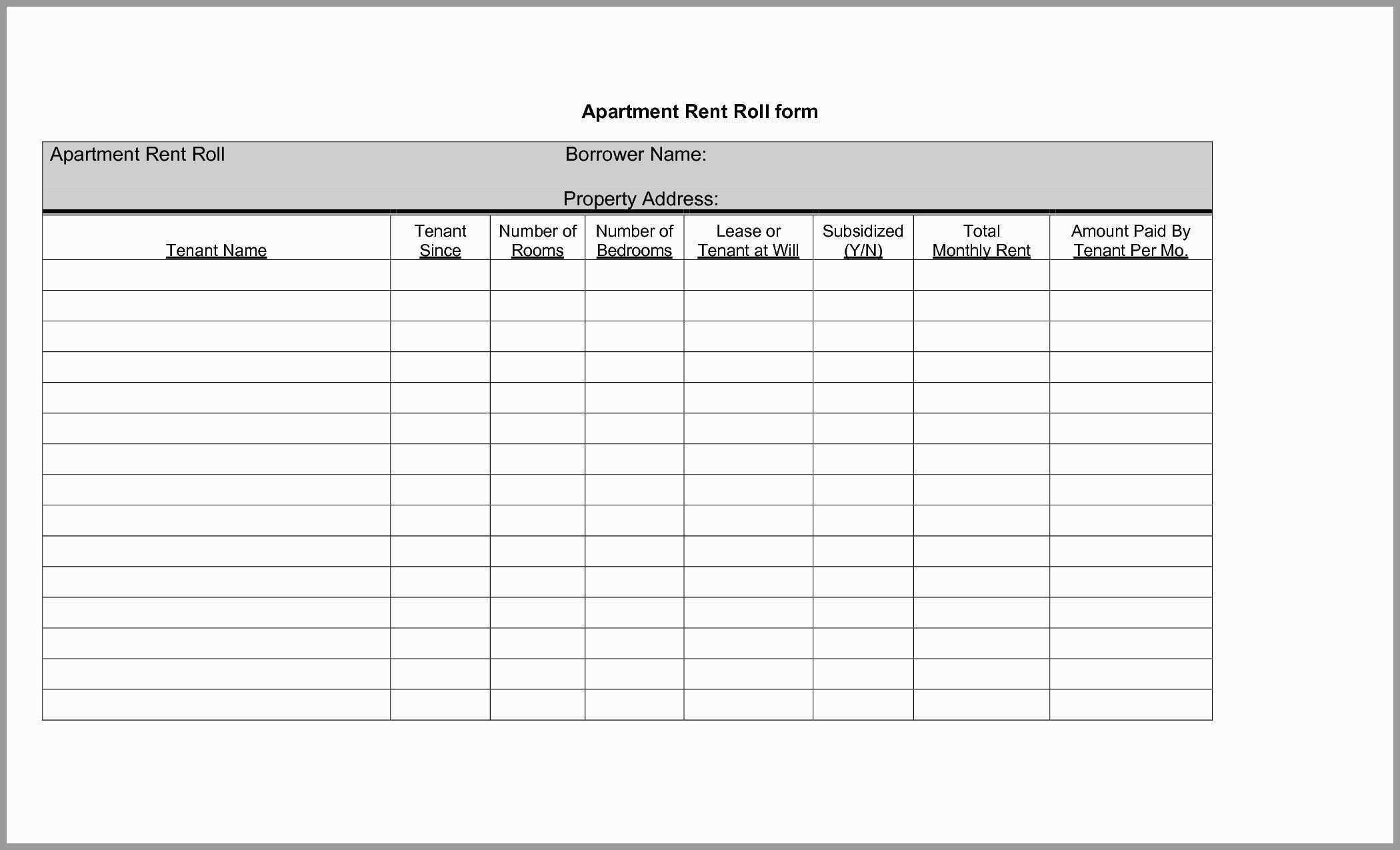 Rent Roll Excel Spreadsheet With Regard To Rental Property