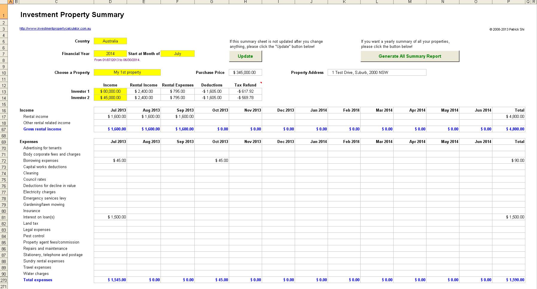 Rental Cash Flow Spreadsheet Spreadsheet Downloa Rental