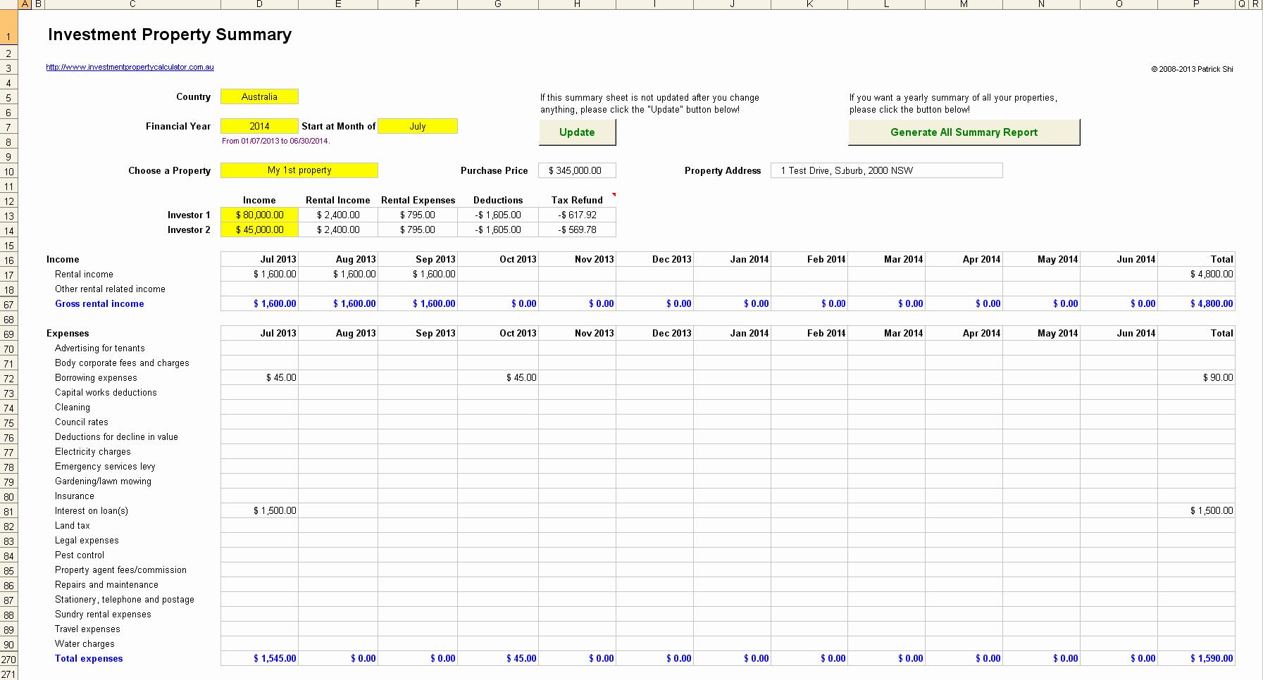 Rental Investment Spreadsheet Inside Rental Property