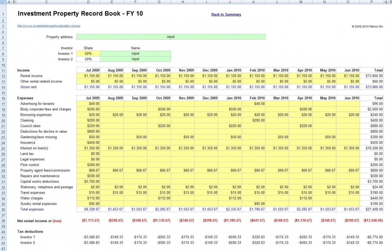 Rental Property Income And Expense Spreadsheet With Regard
