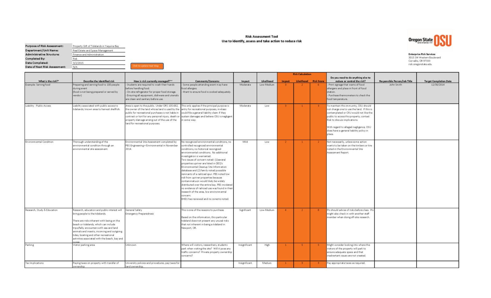 Risk Management Spreadsheet Template Pertaining To Risk