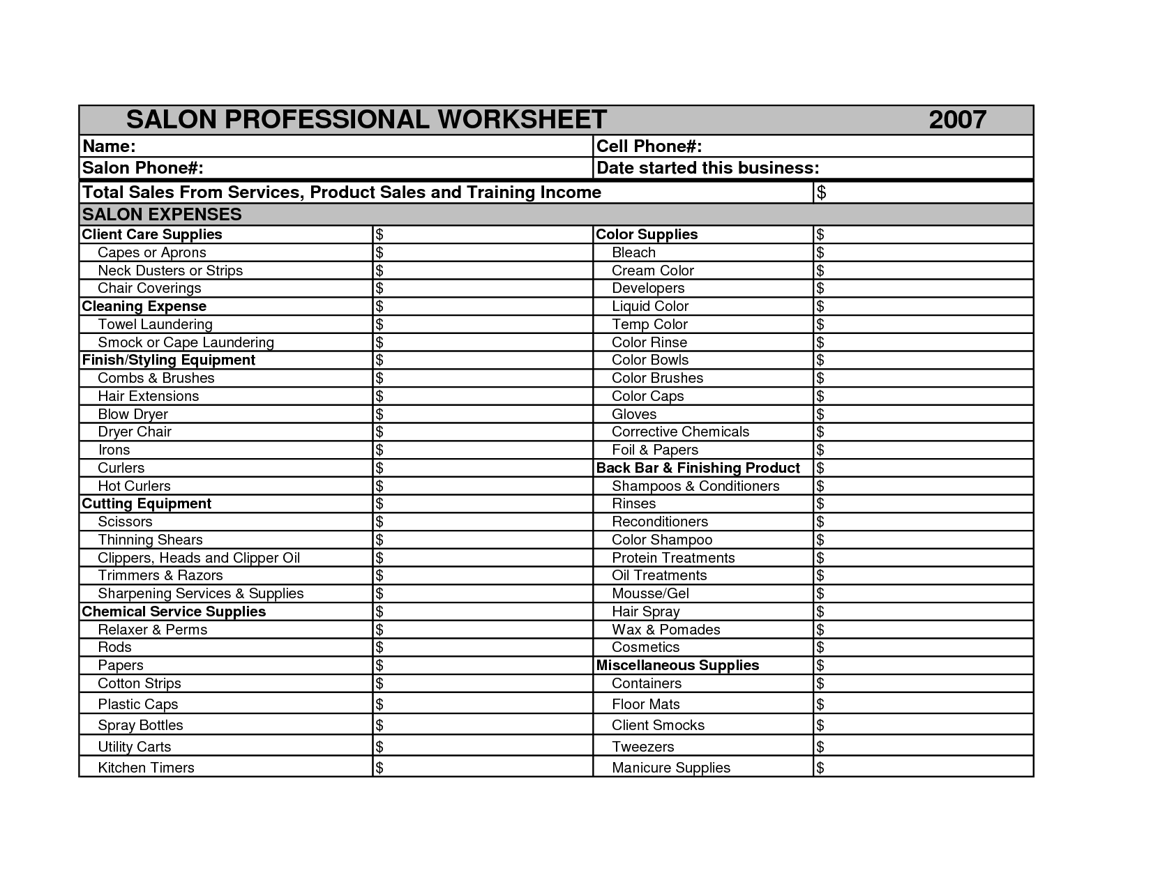 Salon Expenses Spreadsheet