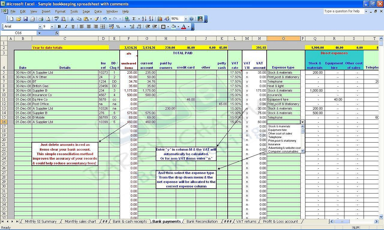 Sample Accounting Spreadsheet For Small Business Db