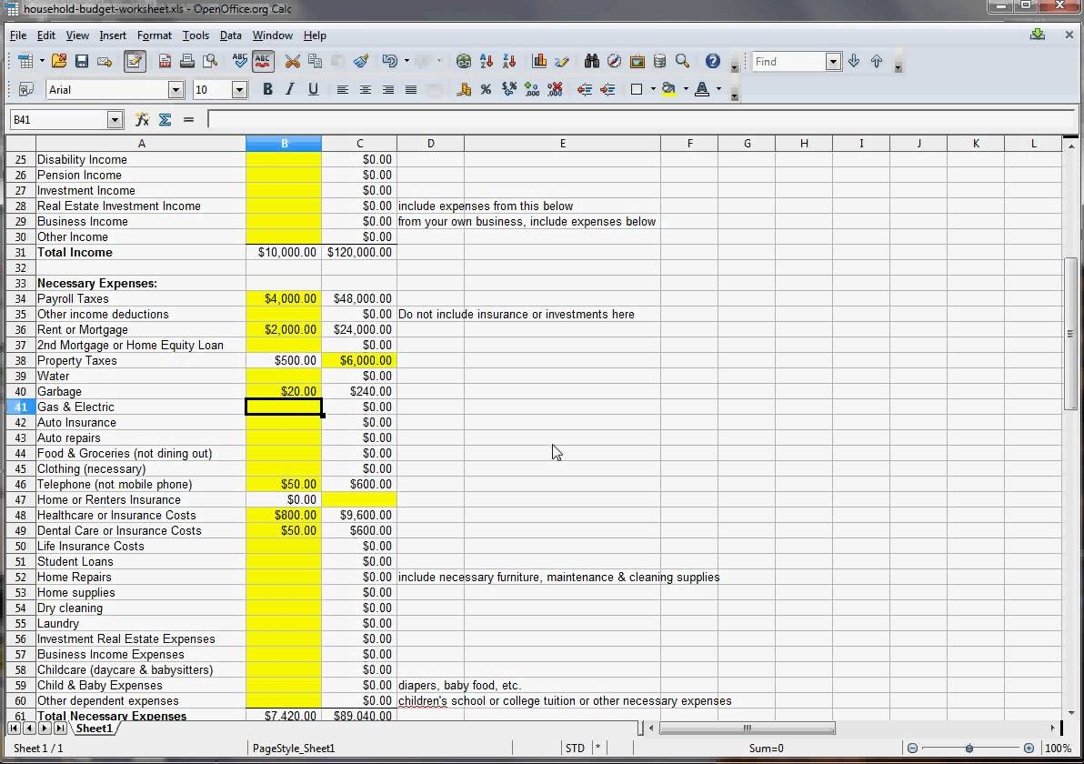 Sample Home Budget Spreadsheet With Sample Home Budget