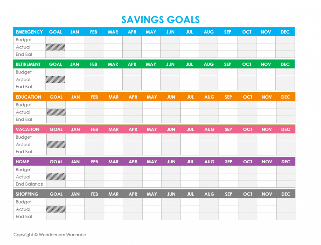Savings Goal Tracker Spreadsheet Throughout Free Printable