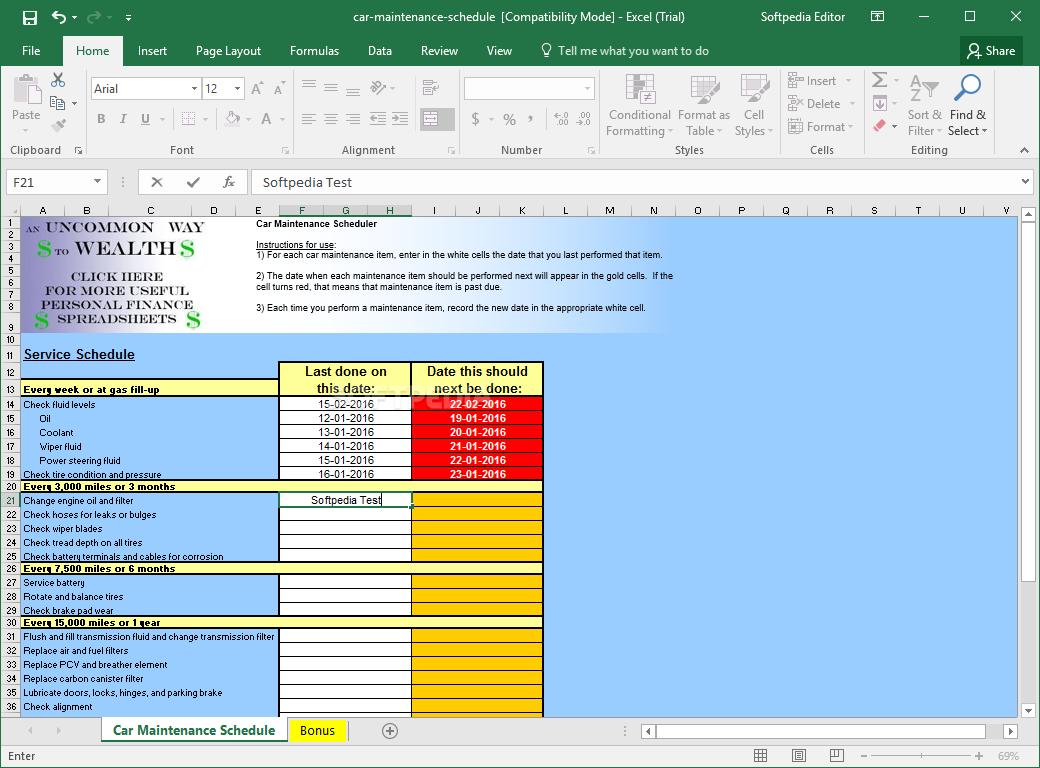 Schedule Spreadsheet Throughout Download Car Maintenance