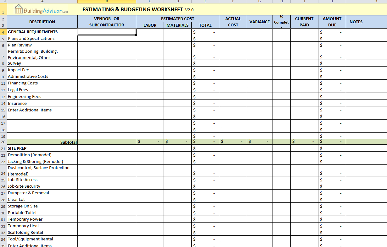 Self Build Spreadsheet Template Spreadsheet Self