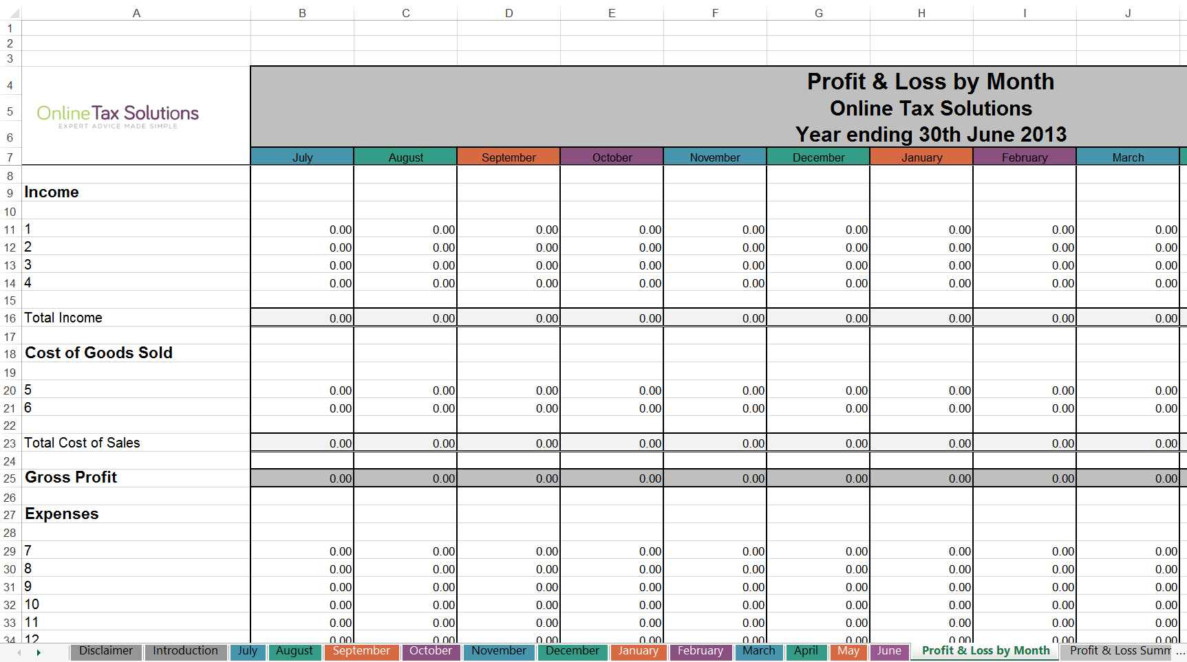 Self Employed Expenses Spreadsheet