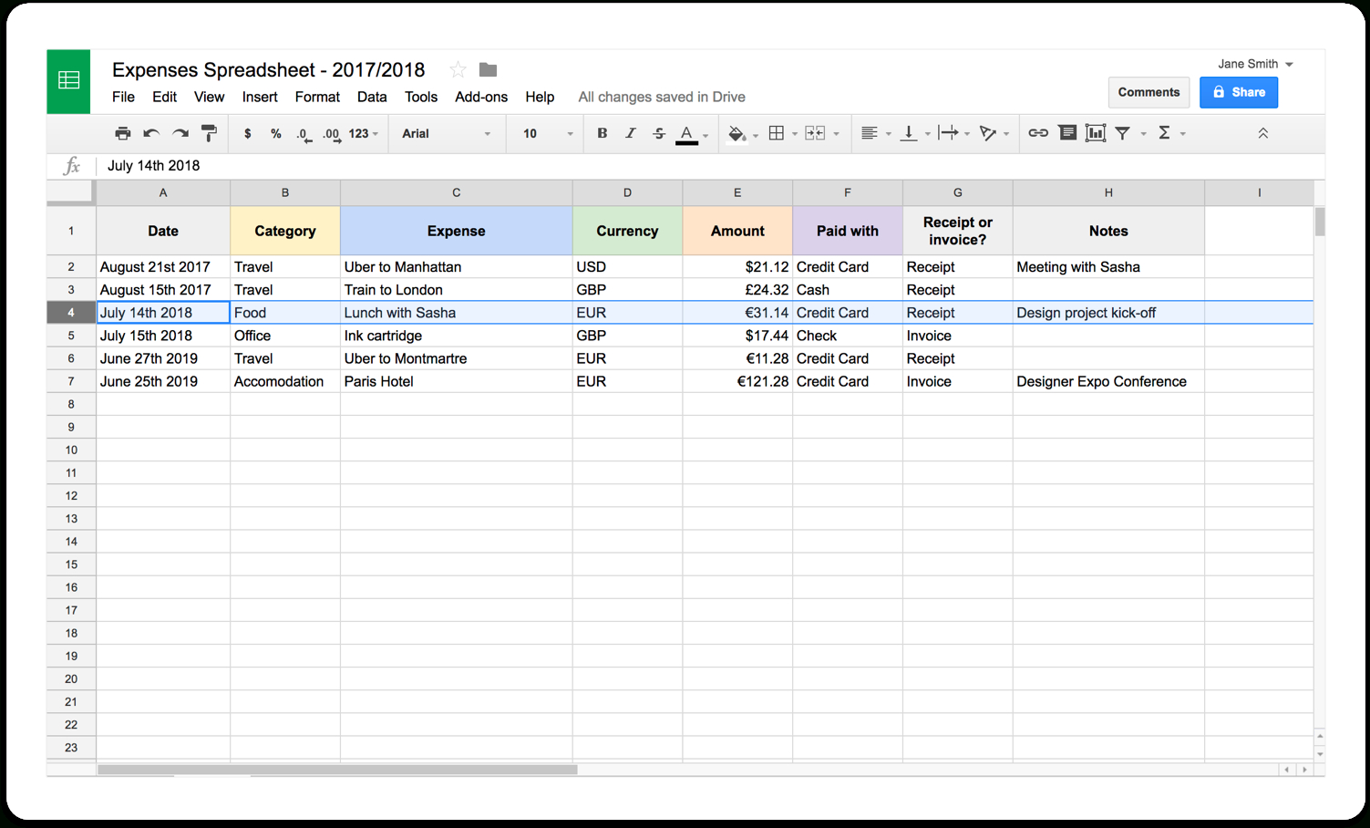 Self Employed Record Keeping Spreadsheet Within