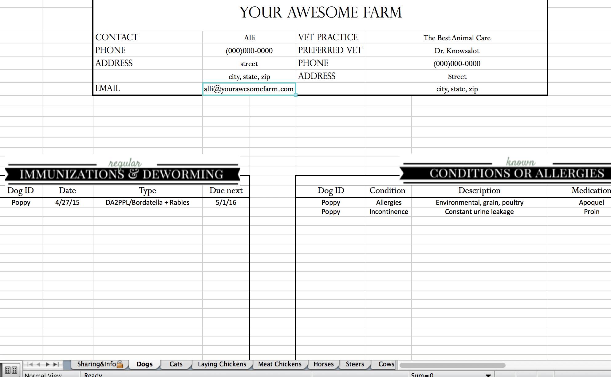 Sheep Record Keeping Spreadsheet Db Excel