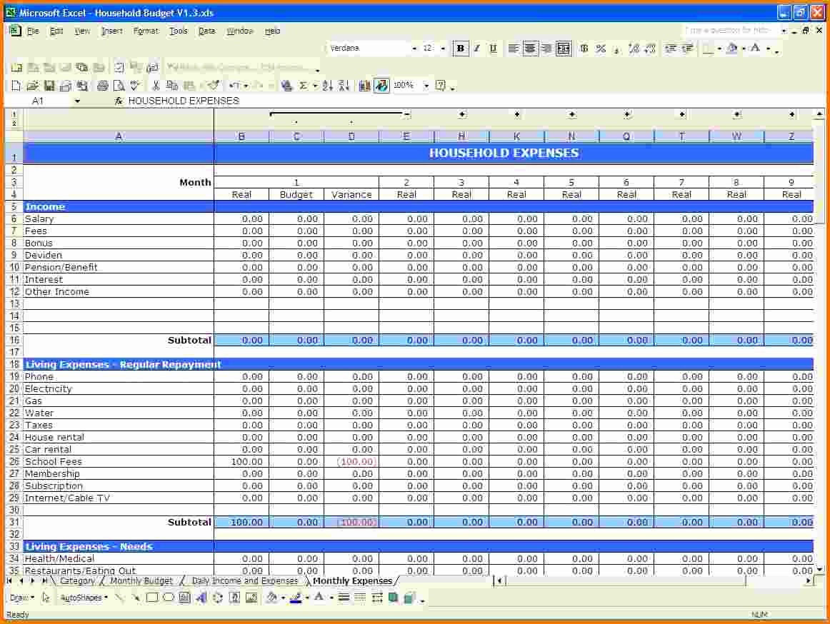 Simple Mrp Excel Spreadsheet Within Sample Home Budget