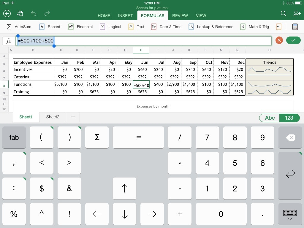 Simple Spreadsheet App For Ipad Pertaining To Excel For