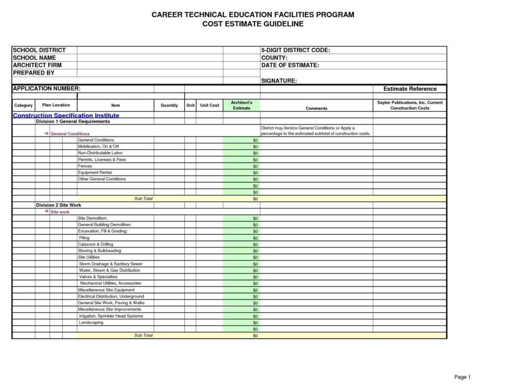Site Work Estimating Spreadsheet In Builders Estimate