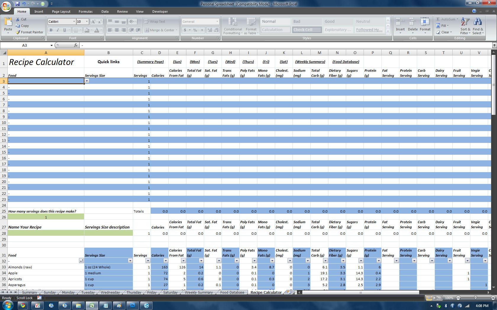 Spreadsheet Database Hybrid Pertaining To P90x Insanity