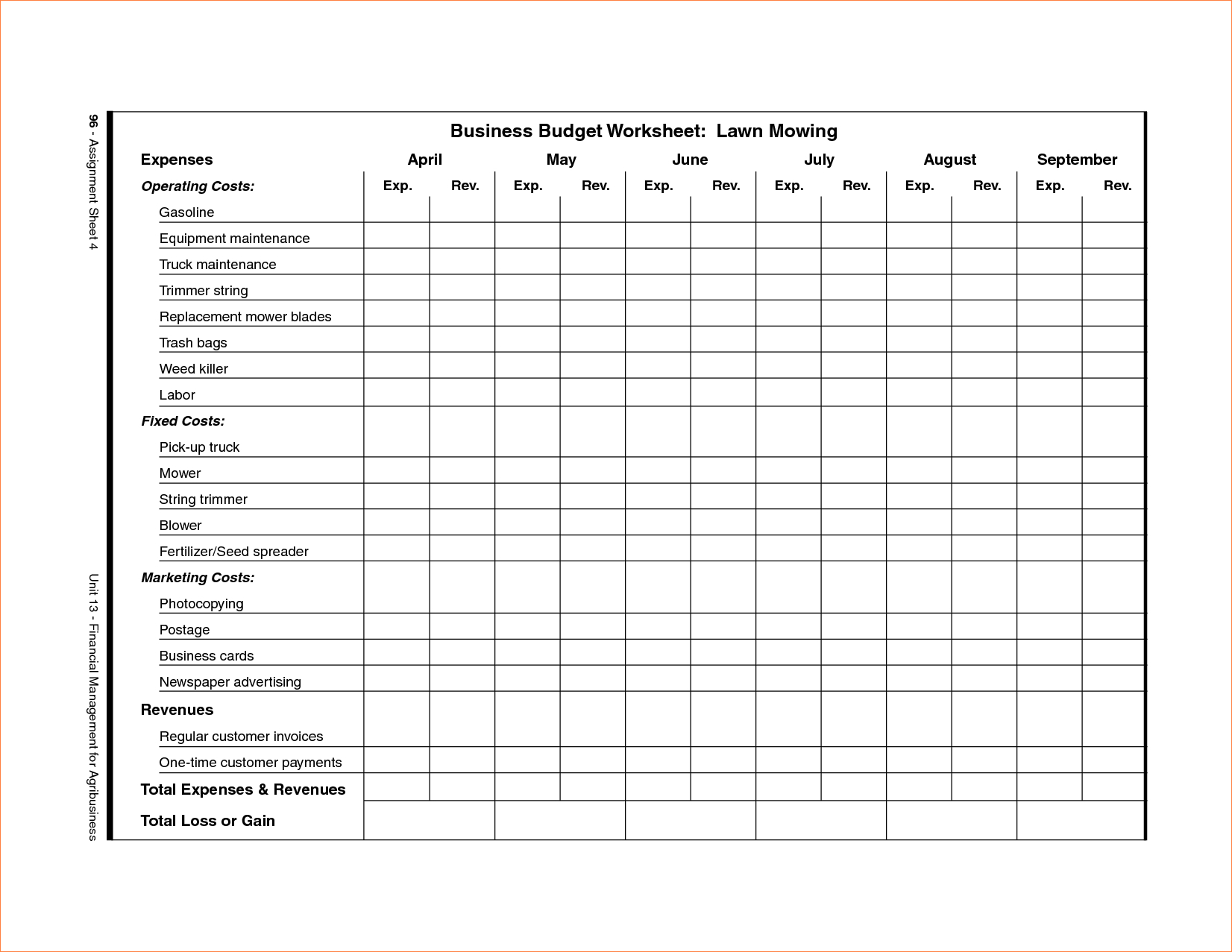 Spreadsheet For Lawn Mowing Business Download